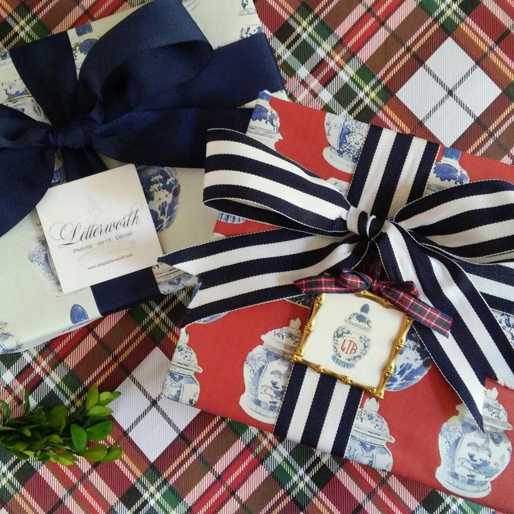 Letterworth signature ginger jar holiday gift wrap