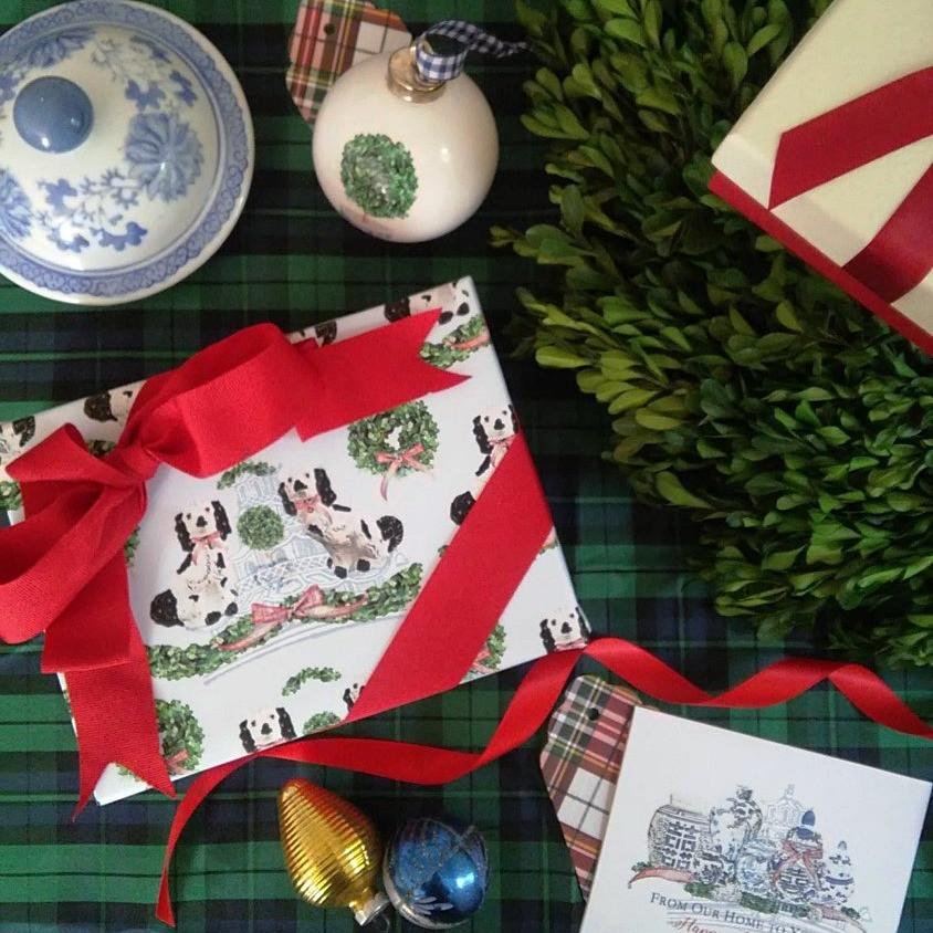 Letterworth Staffordshire dog signature gift wrap
