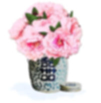 Letterworth watercolor peonies in blue and white double happiness ginger jar