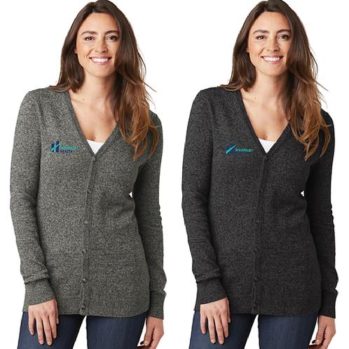 LSW415 Port Authority Ladies Marled Cardigan Sweater