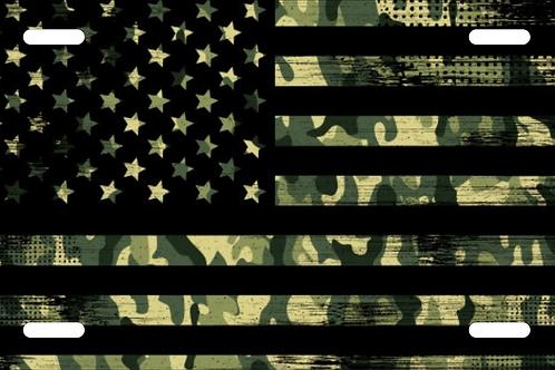 Military US Flag License Plate