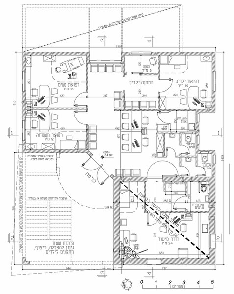 """בנין חדש למרפאה קהילתית קטנה, כ-160 מ""""ר. צמצום מירבי של שטח המבנה תוך שמירת אופציות להרחבה עתידית הצידה ו/או לקומה נוספת"""