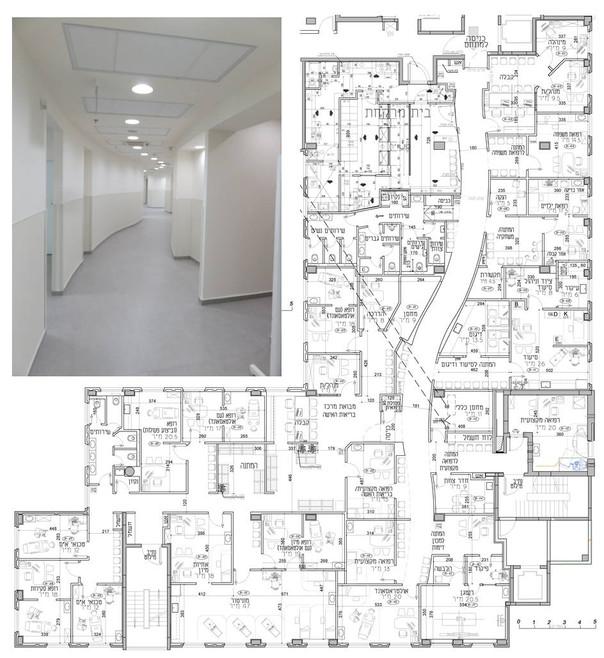 """מסדרון מרכזי מתעקל הוא האלמנט החריג והבולט במרפאה גדולה (כ-800 מ""""ר). למעשה גם עוזר בחלוקה אופטימלית של השטח"""