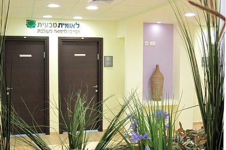 """מרפאה מרכזית בקרית מלאכי (1,000 מ""""ר). המרכיב הדומיננטי הוא מסדרון מעגלי, לאורכו פרוסים חלקי המרפאה בסדר צבעי הקשת"""