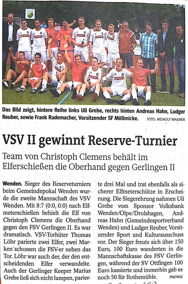 VSV Wenden II gewinnt das Reserveturnier