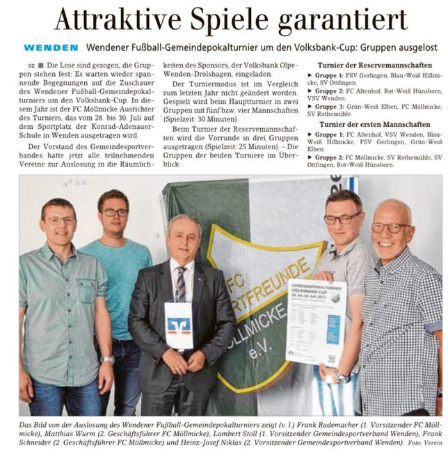 Amtspokal Wenden ausgelost, Update