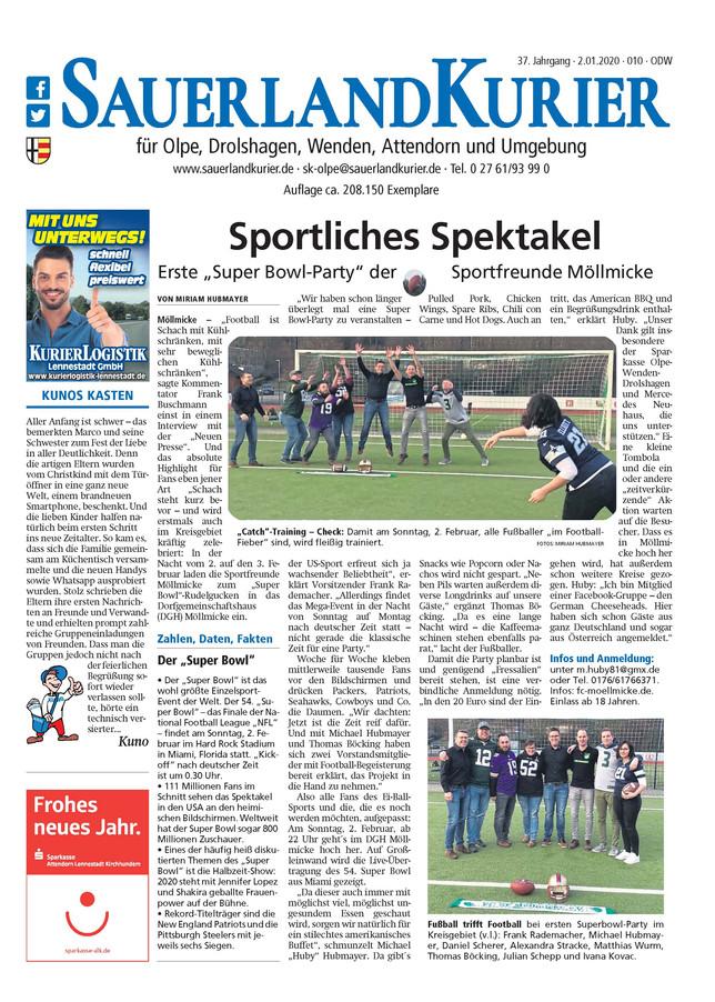"""Super Bericht zur """"Super Bowl-Party"""" im Sauerlandkurier"""
