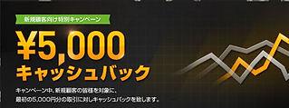 バイナリーオプション5000円キャッシュバック