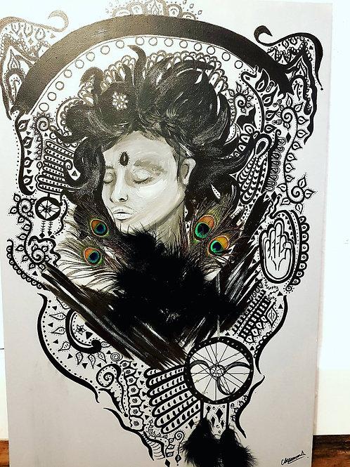 """While I Sleep. 36"""" x 24"""" Acrylic on Canvas"""