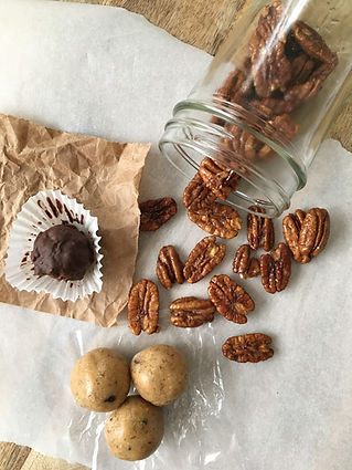 Chocolate Joy, Cookie Dough Poppers and Candied Pecans