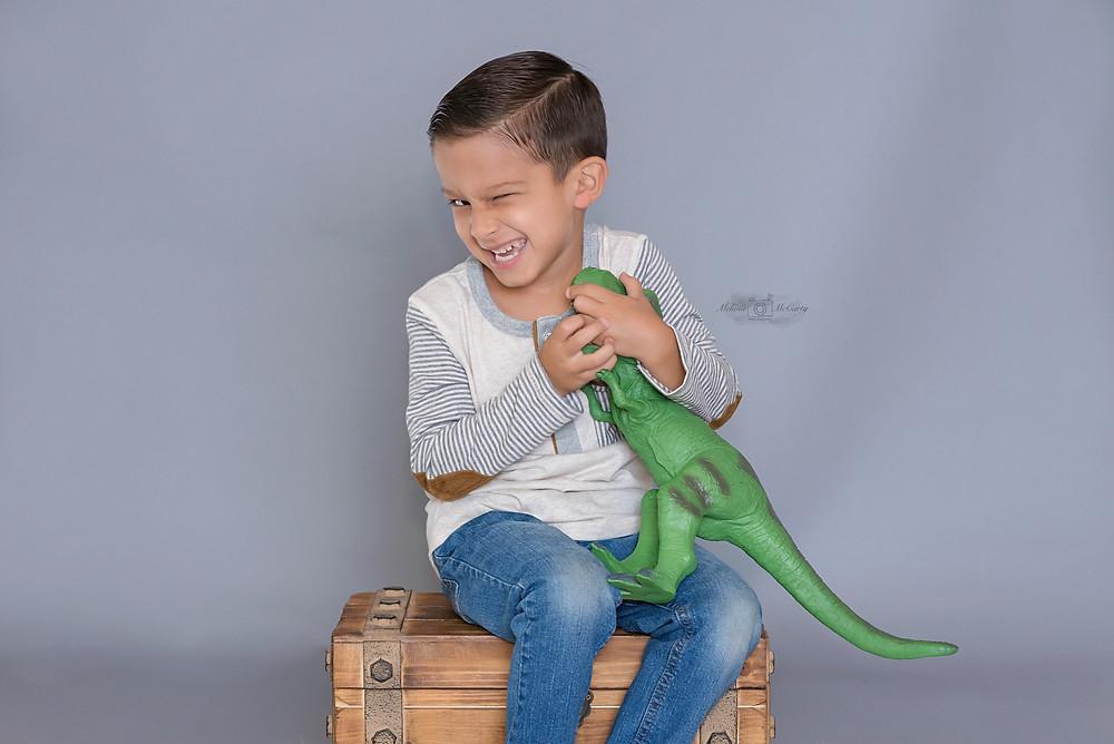 In studio goofy child photograph