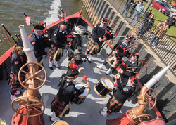 Bagpipe at fireboat 116 birthday