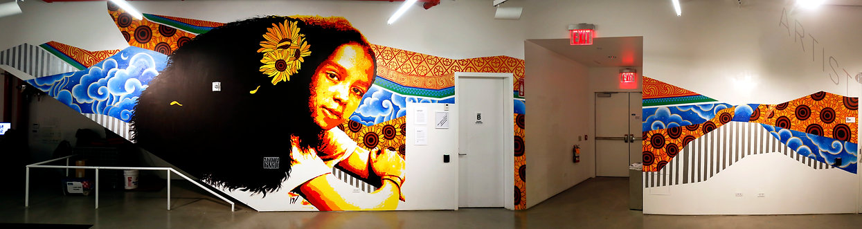ananda nahu, anahu, ricky flores, bric arts media, mural, painting, stencil, art, cec arts link, brooklyn, new york city,
