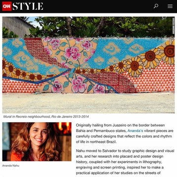 Ananda Nahu featured at CNN Style as one of Seven creatives redefining Brazilian art and design.