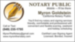 Myron Goldstein Notary Public Business Card