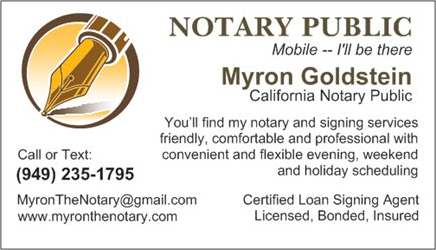 Myron Goldstein Notary Public Business Card