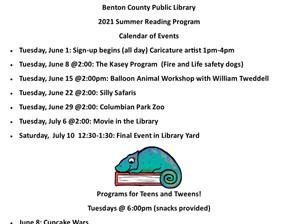 2021 Summer Reading Calendar of Events!