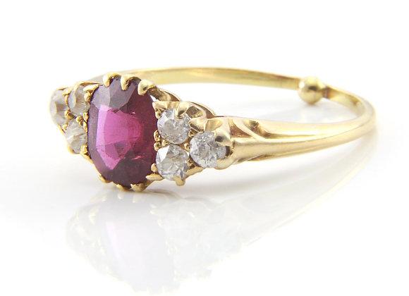 Ruby & Old Cut DiamondRing