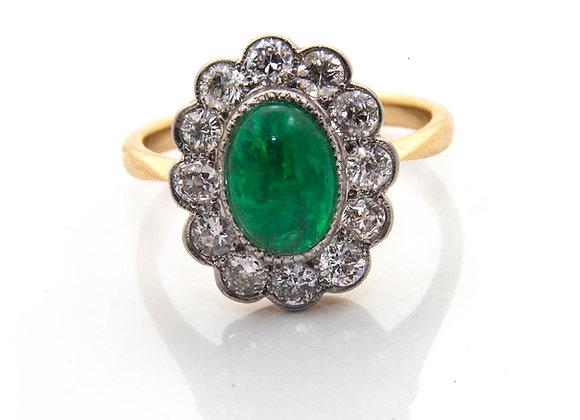 Cabochon Emerald & Diamond Ring