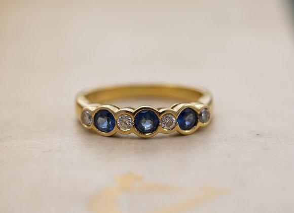 Sapphire and Diamond Gold Band