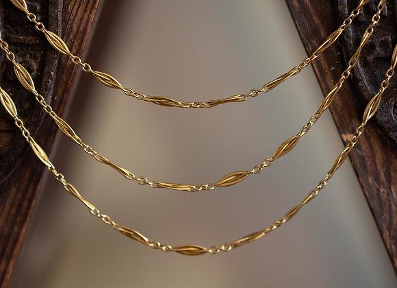 "Long Gold Muff Chain, 63"""