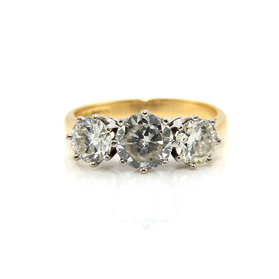 Transitional Cut Diamond Three Stone Ring