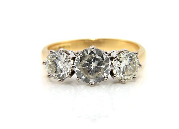 Transitional Cut Diamond Three Stone Ring