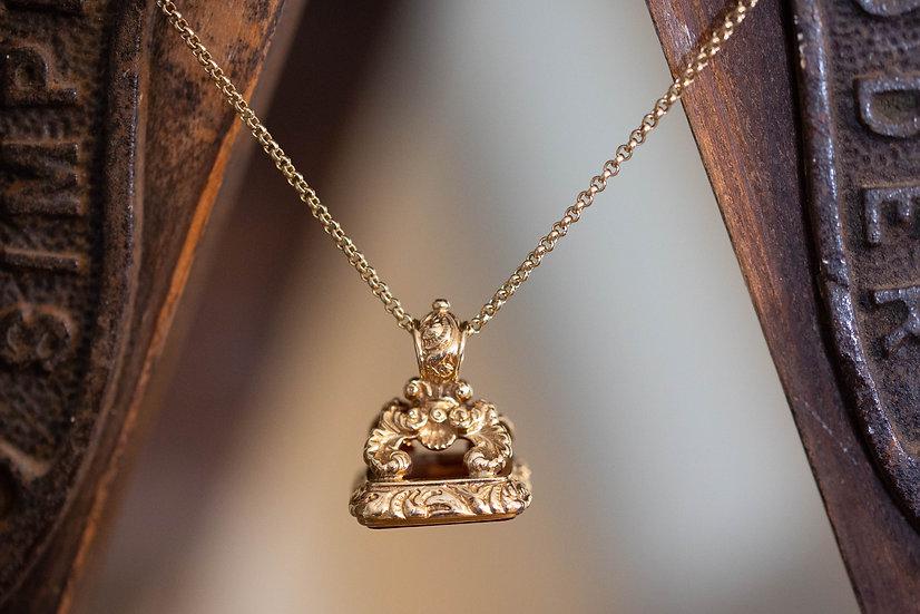 Large Gold Cornelian Set Fob