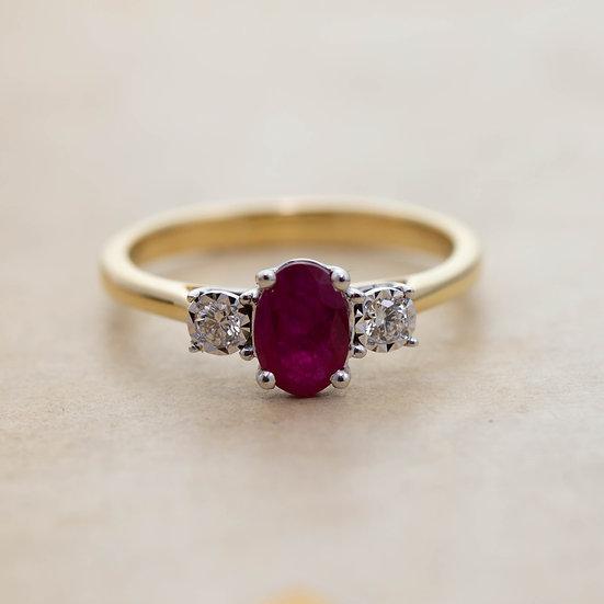 Oval Ruby and Diamond Three Stone