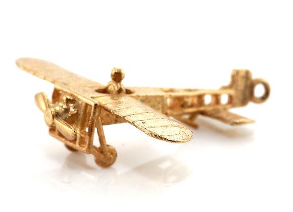Gold Propeller Aeroplane Charm
