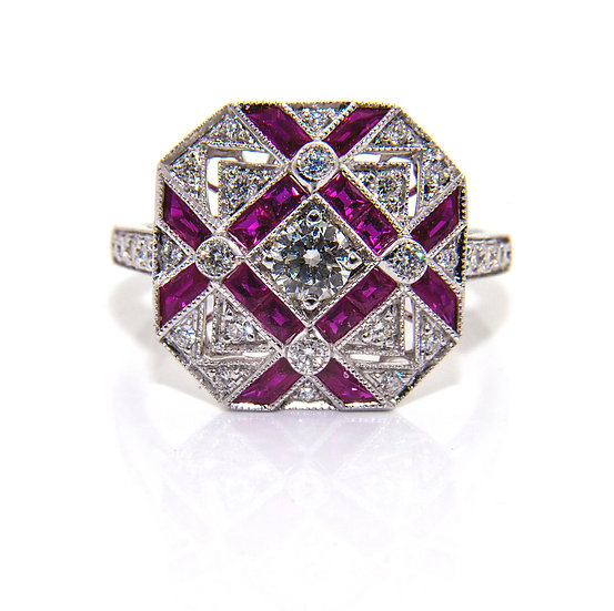 Art Deco Style Ruby & Diamond Ring