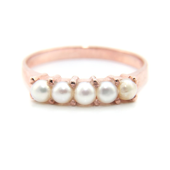 Rose Gold Five Pearl Ring