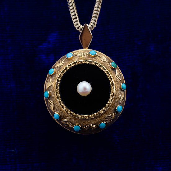 Victorian Turquoise, Onyx and Pearl Pendant
