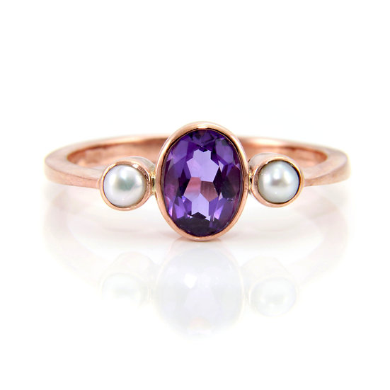 Amethyst & Pearl Trilogy Ring