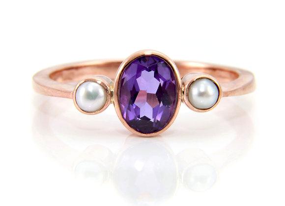 Amethyst & Pearl Trilogy Ring