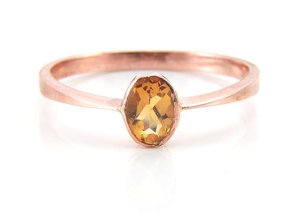Rose Gold Oval Citrine Ring