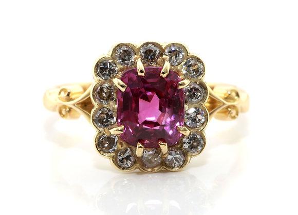 Pink Sapphire & Diamond Engagement Ring