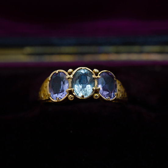 Aquamarine and Amethyst Three Stone Ring