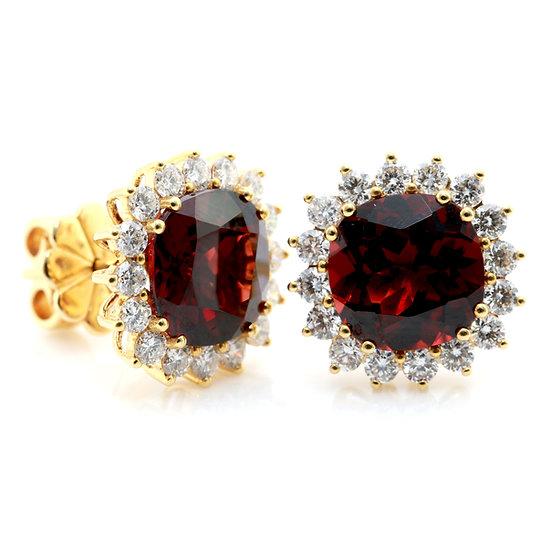 Garnet and Diamond Cluster Studs