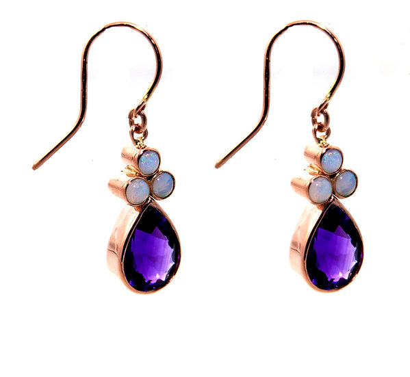 Opal & Amethyst Drop Earrings