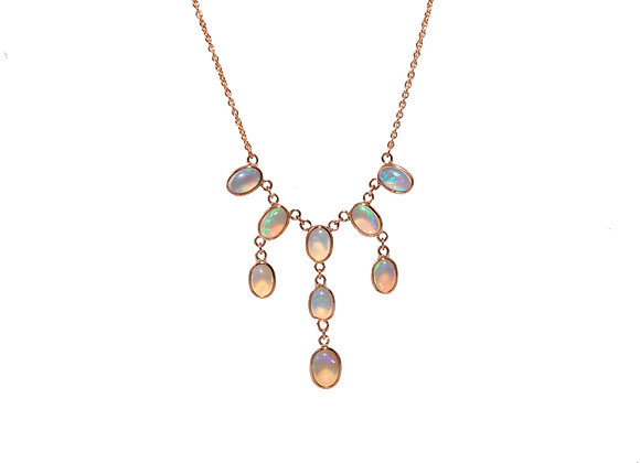 Opal Multistrand Rose Gold Necklace