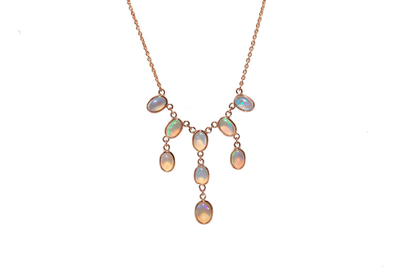 Opal Multistrand Rose Gold Necklace