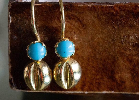 Turquoise and Gold 'Bean' Earrings