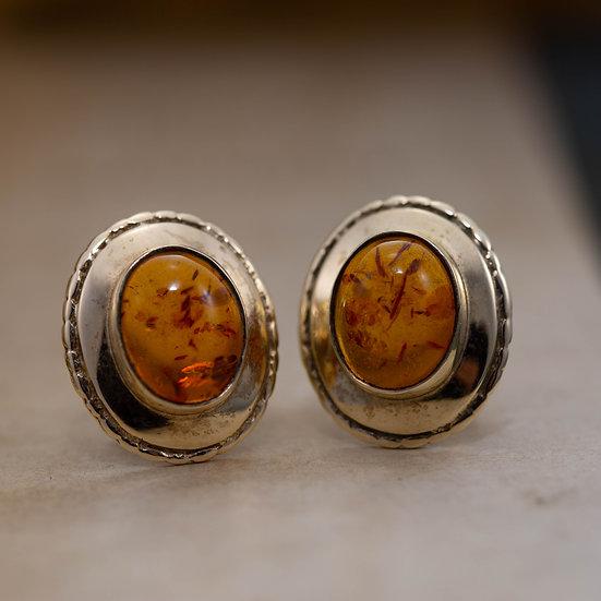 Oval Stud Amber Earrings