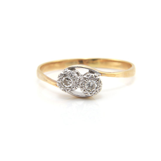 Diamond Two Stone Twist Ring