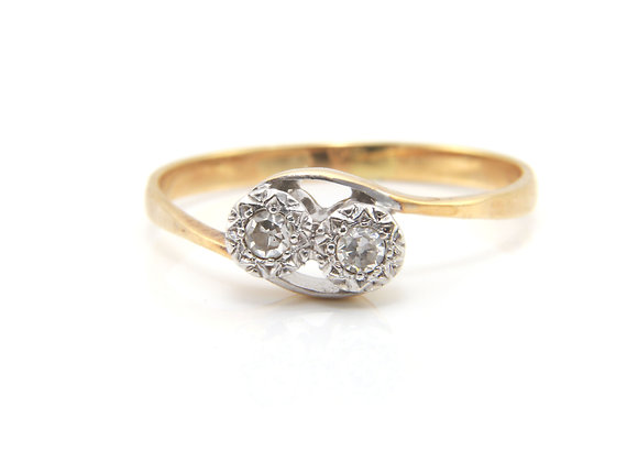 Diamond Two Stone Twist Ring