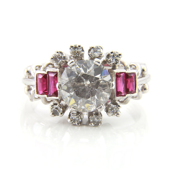 Platinum Old Cut Diamond & Ruby Cluster Ring