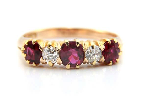 Ruby & Diamond Five Stone Ring