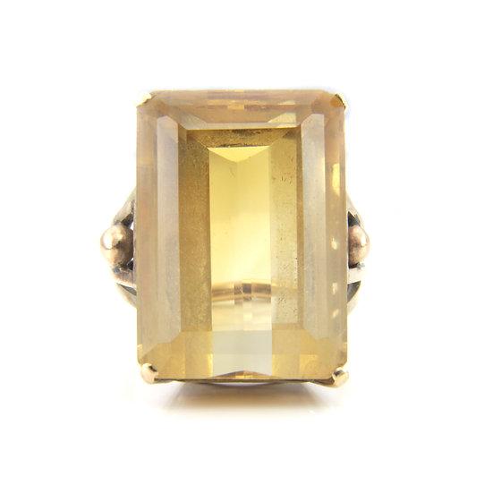 Rectangular Citrine Solitaire Ring