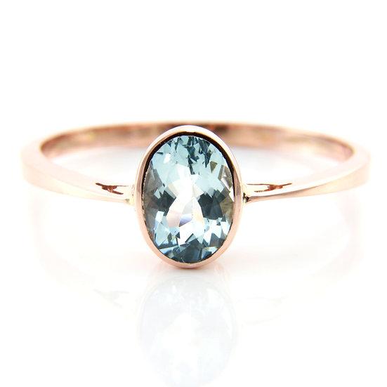 Rose Gold Aquamarine Solitaire Ring